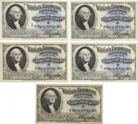 Columbian Exposition: Five Admission Tickets