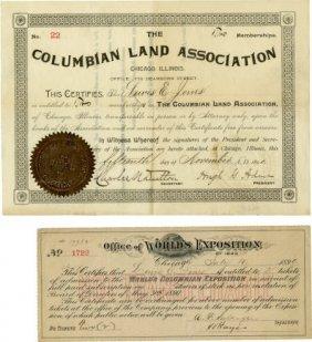 Columbian World's Fair 2 Documents Louis Jones