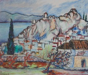 "Balder Georg (Swiss 1810-1882) ""Village On The Lake"""