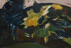"Ber Rudolf (Hungarian 1924-2004) ""Landscape With Tr"