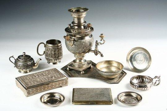 559 11 Pcs Hallmarked Persian Silver Samovar Mug Tea Lot 559