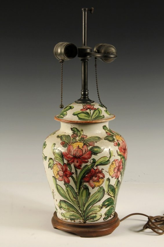 Majolica Lamp Base Italian Majolica Lidded Ginger Jar