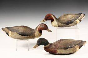 3 Decoys Mallard Duck Decoys In Painted Pine By Lot 22