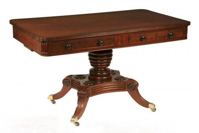 LIBRARY TABLE Choice Carved Mahogany Classical Lot 745