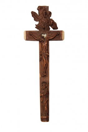 Crucifix Reliquary - Italian Carved Wood Crucifix With