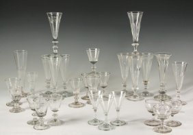 (28 Pcs) 18th C Stemware - Glass And Crystal Stems,