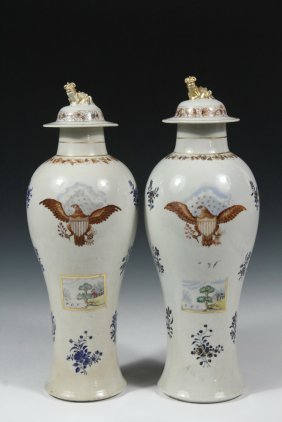 Pair Of Chinese Export Vases For The American Market -