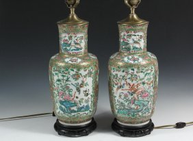 Pair Of Chinese Porcelain Vases As Lamps - 19th C.