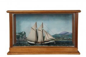 Cased Maine Marine Diorama - Two-mast Schooner Passing