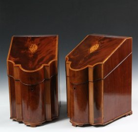 Pair Of Knife Boxes - 19th C. English Figured Mahogany