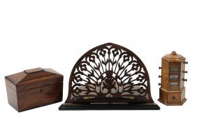 (3 Pcs) Fine English Woodworking - All 19th C.,