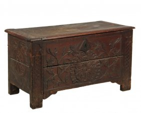 Early English Chest - William And Mary Oak Coffer,