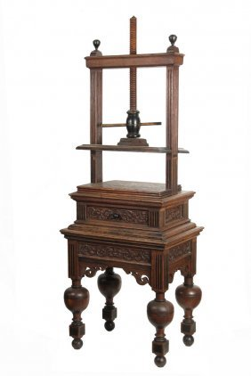 English Book Press - 19th C Jacobean Style English Oak