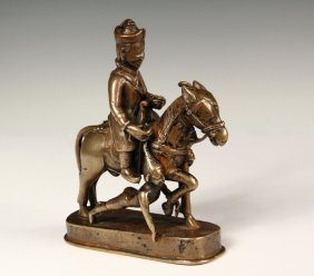 Rare Tibetan Bronze Figure - 17th C. Mongolian Warrior