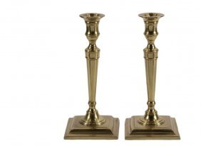 Pair Of Historic Boston Candlesticks - Cast Brass