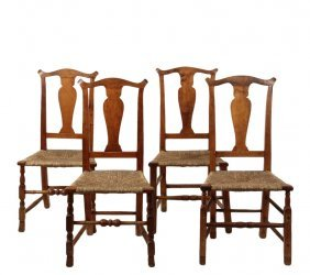 Two Pair Of Rush Seated Chairs - 18th C. Country Side