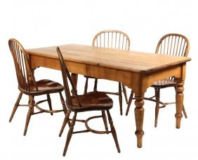 Harvest Table & (4) Windsor Chairs - Bleached Pine