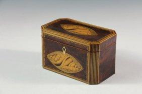 Tea Caddy - 19th C. English Oblong Canted Corner Caddy,