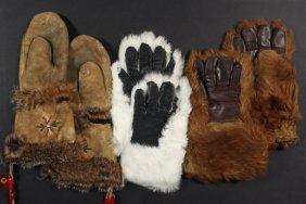 (3 Pair) Early Fur Gloves - Pair Of Deer Hide And