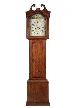 English Tall Case Clock - Oak And Mahogany Clock By