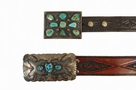 Belt Buckles - Lot Of (2) Native American Crafted