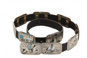 Native American Silver Conch Belt - Navajo Inlaid