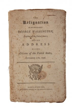 "Rare American Political Pamphlet - ""the Resignation Of"