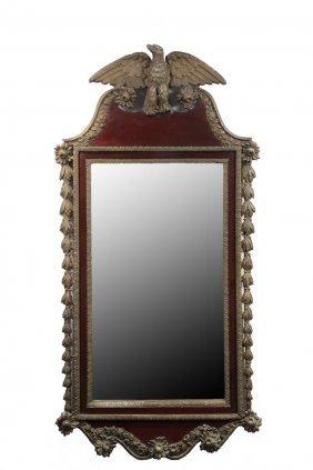 Hall Mirror - 19th C. Mirror In Mahogany Veneer With