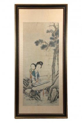 Chinese Painted Scroll - Late 18th C., Woman Playing
