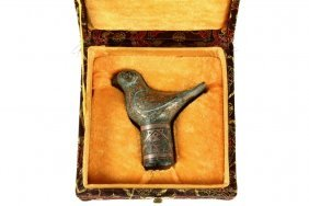 Chinese Bronze Finial - Bird-form Finial In Gold And