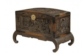 Chinese Carved Trunk On Stand - 1930s Canton Export