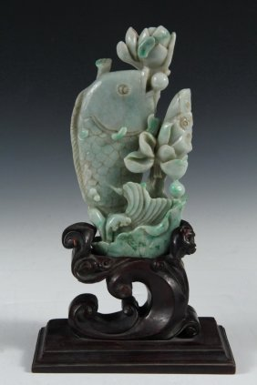 Chinese Hardstone Carving On Stand - Late Qing Jadeite