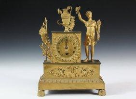French Gilt-bronze Mantel Clock - Classical Period,
