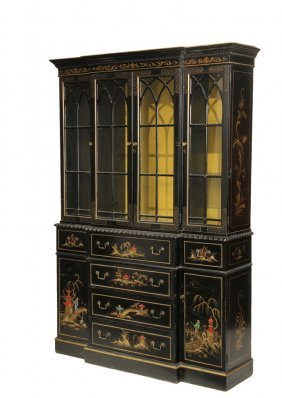Display Cabinet - 20th C. Two Part Black Lacquered