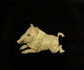 Brooch - 18k Yellow Gold Running Boar Form Brooch With