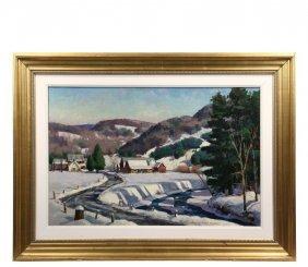 """Donald Allen Mosher (ma, 1925-2014) - """"river Farm"""", Oil"""