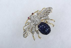 Brooch - Wonderful Custom Designed 18k Yellow Gold &