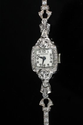 Wristwatch - Vintage Platinum And Diamond Set Ladies