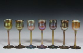 (set Of 7) Tiffany Glass Stemware - Gold Favrille