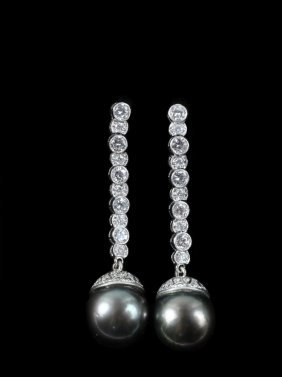 Earrings - Platinum, Diamond, And Black South Sea Pearl