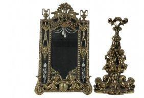 Brass Dressing Mirror & Door Porter - Ornate Heavy Cast