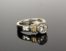 Lady's Ring - One 14k White And Yellow Gold Handmade
