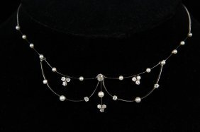 Necklace - 14k Yellow & White Gold Vintage Diamond And