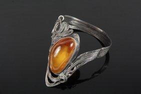 Silver & Amber Bracelet - Handcrafted Free-form