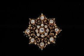 Brooch/ Pendant - 14k Yellow Gold Victorian Snowflake