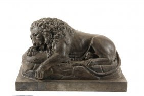 "Cast Stone Sculpture - 19th C Model Of The ""lion Of"