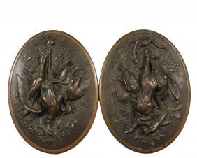 Pair Of Cast Plaques - Oval Hunters Plaques Featuring