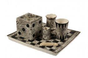 Rare (6 Pc) German Porcelain Smoking Set - Gambler's
