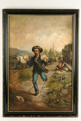 Oil On Canvas - Civil War Union Veteran Runs Down Road