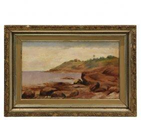 Boston School Seascape - Coastal Scene With Colonial